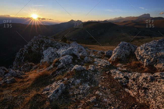 Sunset from Rocca Calascio, Gran Sasso national park, abruzzo, Italy, Europe