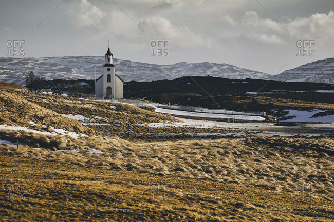 Icelandic church surrounded by nature along ring road, Hringvegur, Iceland