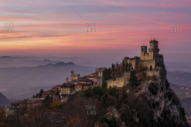 Rocca Guaita, first tower, and Borgo Maggiore in San Marino city, Republic of San Marino