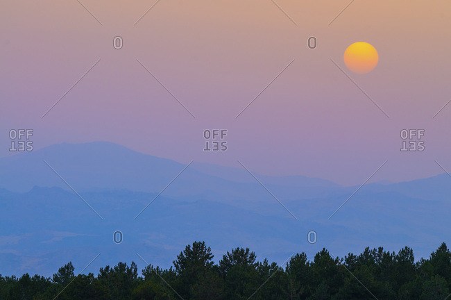 Natural landscape at sunset near Catania town, Sicily, Italy