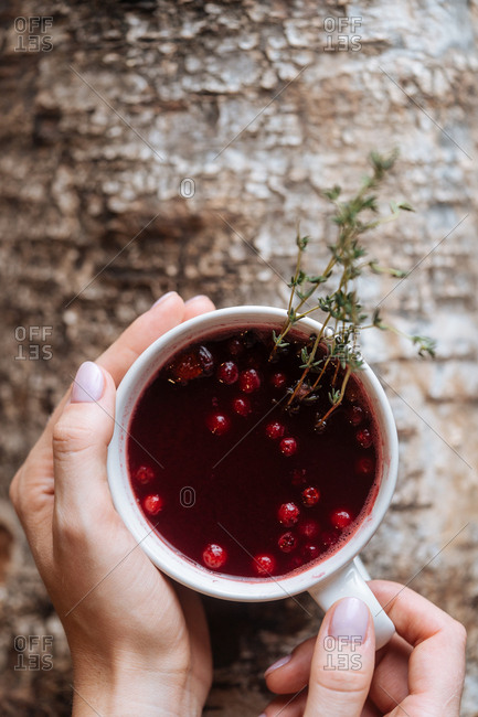 Person holding a mug with mulled warm drink with berries and herbs