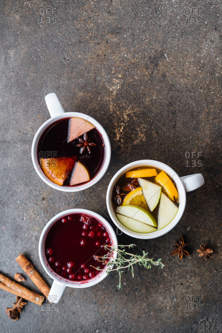 Variety of mulled wines