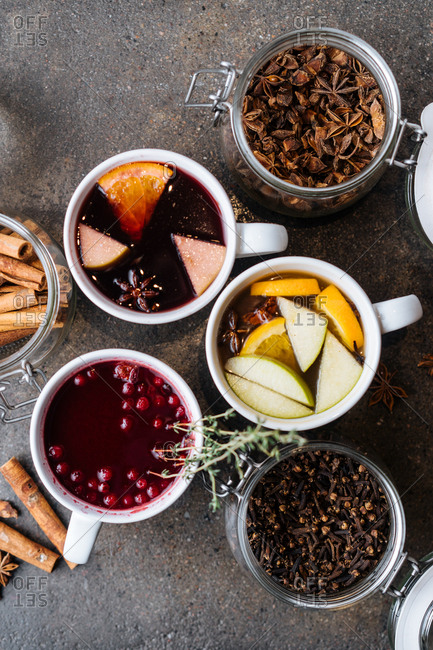Jars of spices and a variety of mulled wines