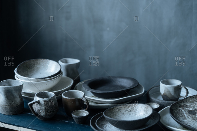 Variety of ceramic dishes on table