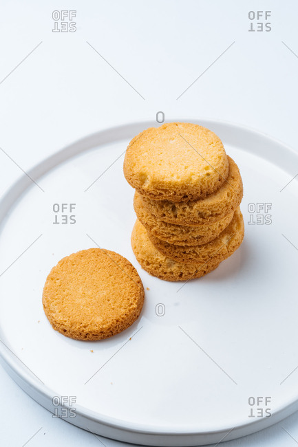 Pile of cookies on a white plate