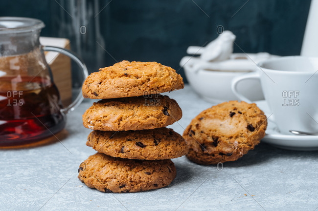 Stack of cookies and tea