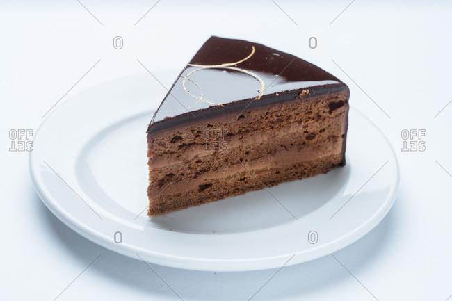 Single slice of decadent chocolate cake