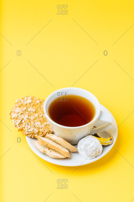 Variety of cookies with tea