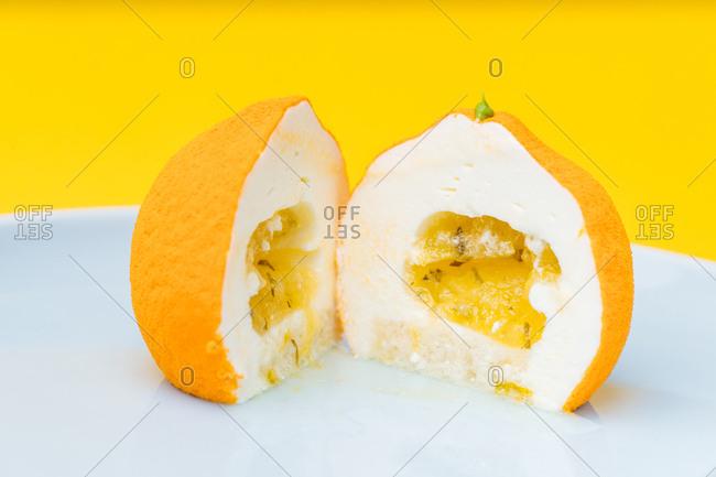 Fruit shaped gourmet dessert