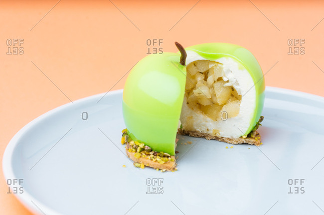 Apple shaped gourmet dessert