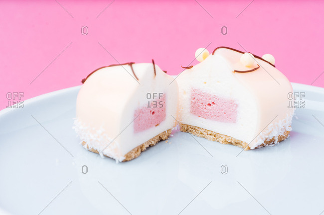 Gourmet dessert on pink background