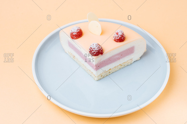 Single slice cake with red icing
