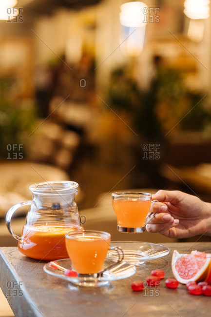 Grapefruit juice served in glasses