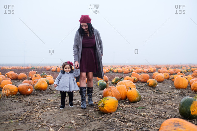 Mother and daughter walking in a pumpkin patch