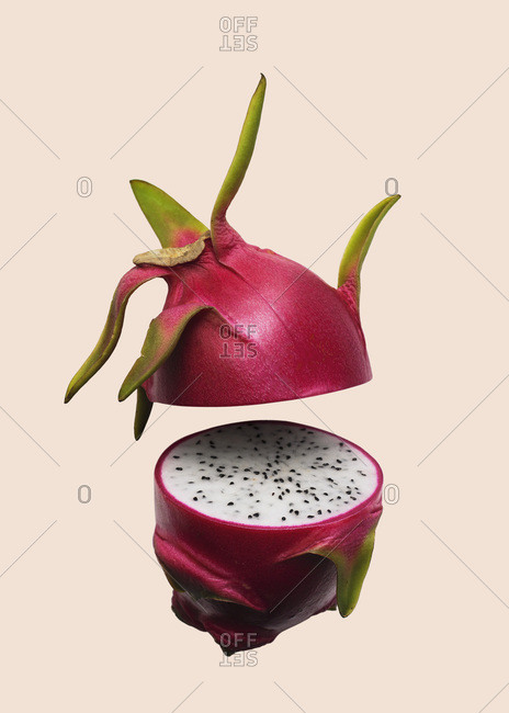 Suspended Dragon Fruit Sliced in Half