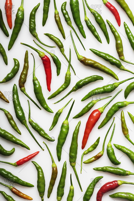 High Angle View of Red and Green Thai Chili Peppers