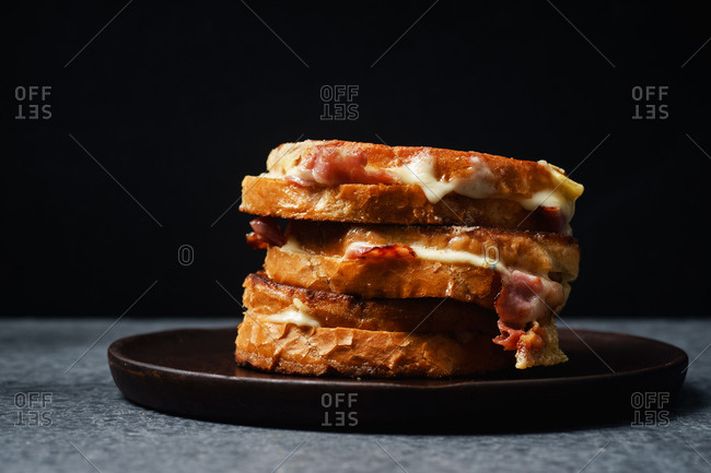 Grilled cheese and bacon sandwiches