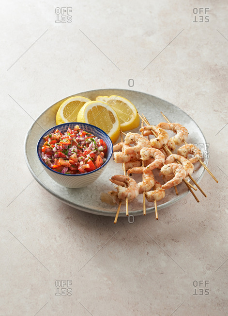 Delicious grilled shrimp Kebabs
