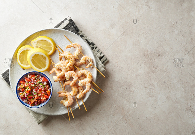 Shrimp Kebabs with lemon and salsa