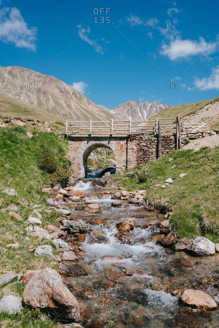 Idyllic Bridge in the Swiss Alps