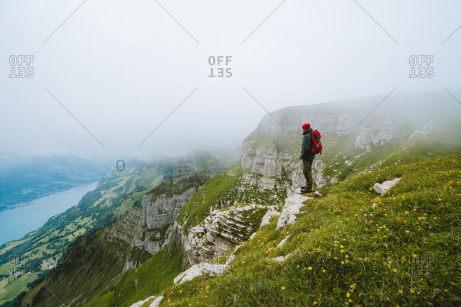 Man overlooking epic view in Switzerland