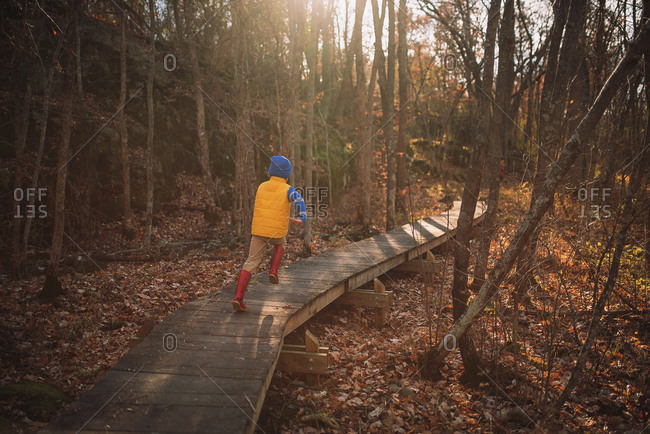 A young boy playing in the woods in the late fall