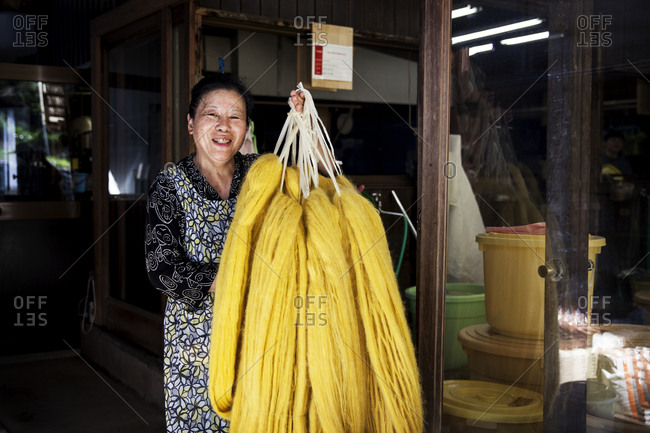Japanese woman working in a plant dye workshop,  holding up freshly dyed bright yellow fabric.