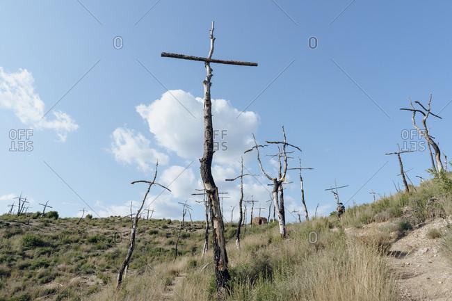 Spain- Barcelona- Montserrat- crosses made of deadwood