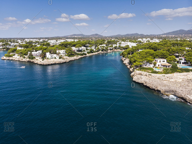Spain-  Balearic Islands- Mallorca- Coast of Cala d'or and bay Cala Ferrera- holiday homes and villas
