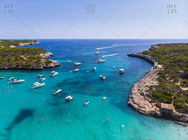 spain- Balearic Islands- Mallorca- Aerial view of Cala Mondrago- Mandrago Nature Park