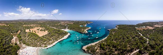 spain- Balearic Islands- Mallorca- Aerial view of Cala Mondrago and Playa Mondrago- Mandrago Nature Park