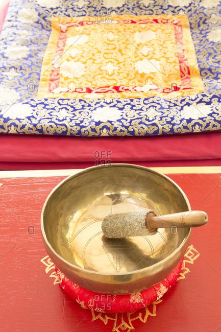 Singing bowl in meditation room