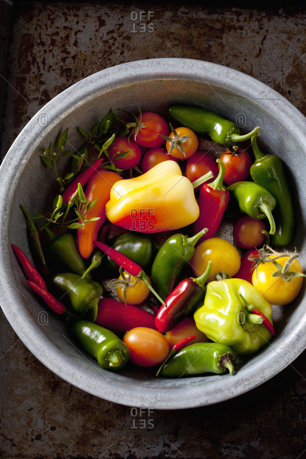 Bowl of organic vegetables