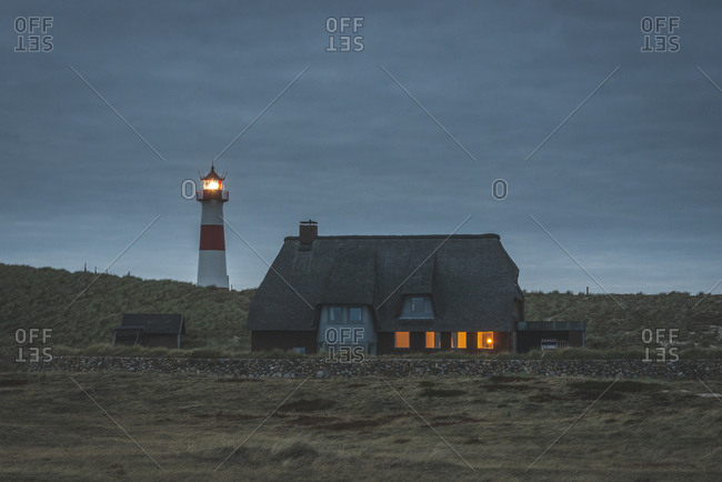 Germany- Schleswig-Holstein- Sylt- Ellenbogen- lighthouse List Ost in the evening