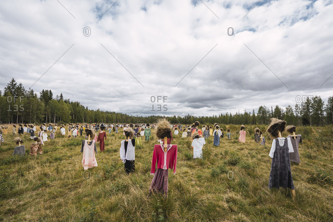 Finland-  Suomussalmi- The Silent People- art project with crowd of scare crows