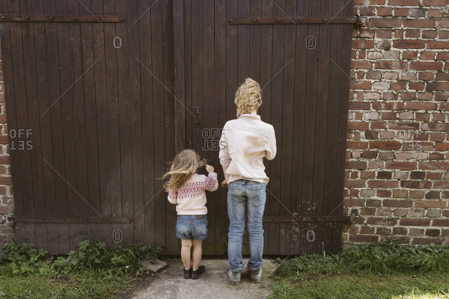 Back view of brother and his little sister standing in front of wooden door