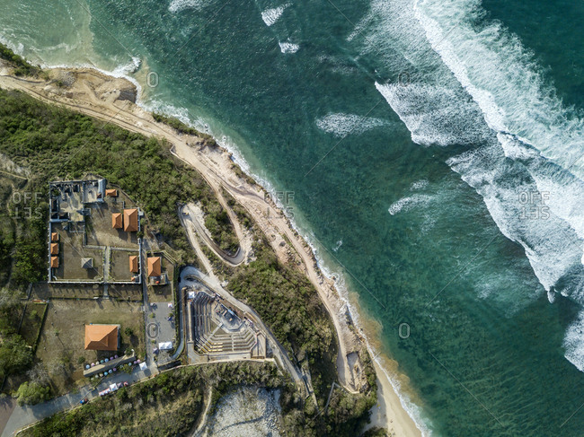 Indonesia- Bali- Aerial view of Temple complex at Payung beach