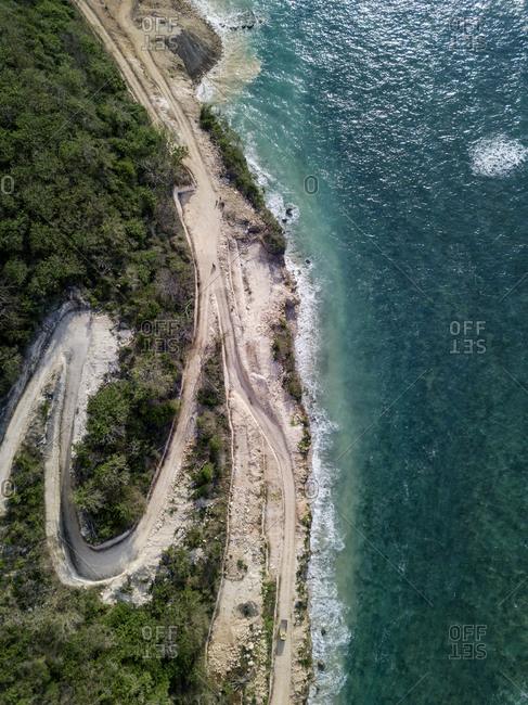 Indonesia- Bali- Aerial view road to Payung beach