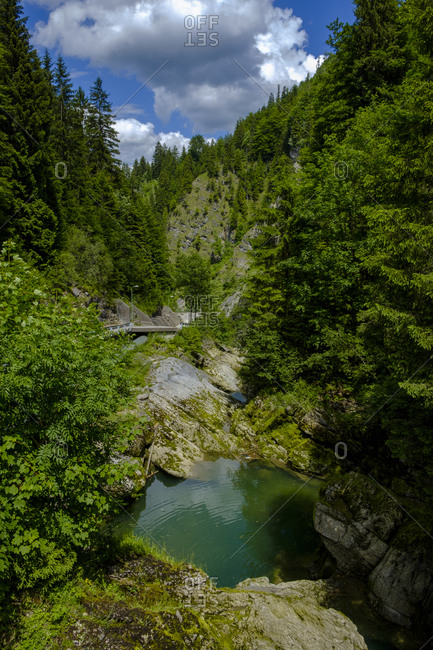 Austria- Tyrol- Tannheim Valley- Vils Valley lake- Vils Fall near Kappel