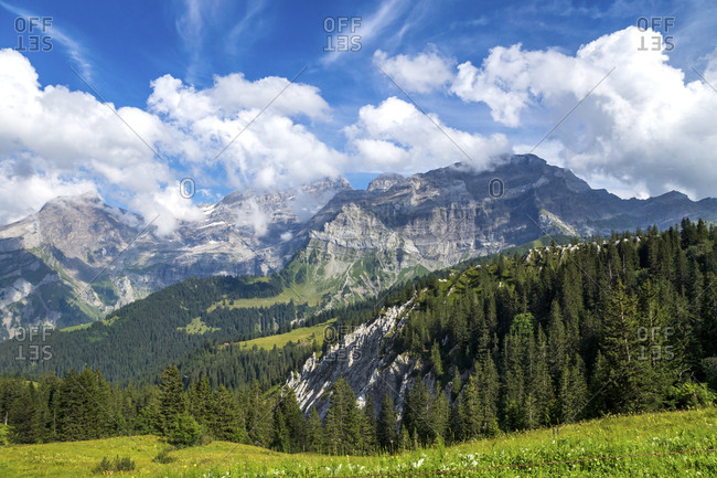 Switzerland- Fribourg- mountain range near Montbovon