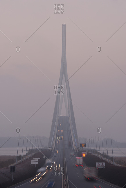 France- Le Havre- Pont de Normandie in morning mist