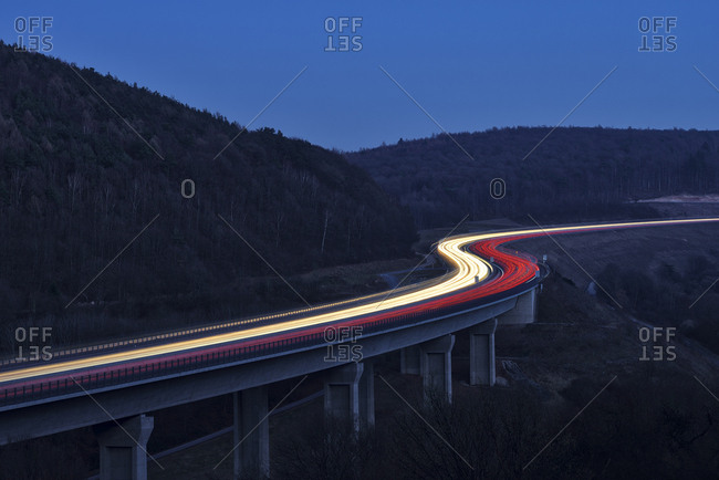 Germany- Bavaria- S-shaped highway  A3 between Wurzburg and Aschaffenburg- long exposure
