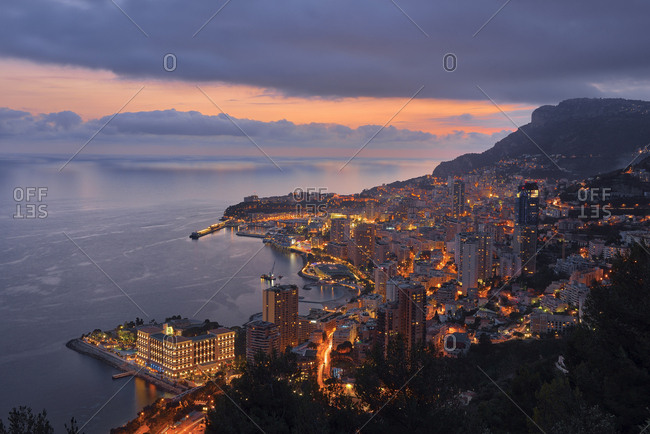 Monaco- Monte Carlo- view to lights city at dusk