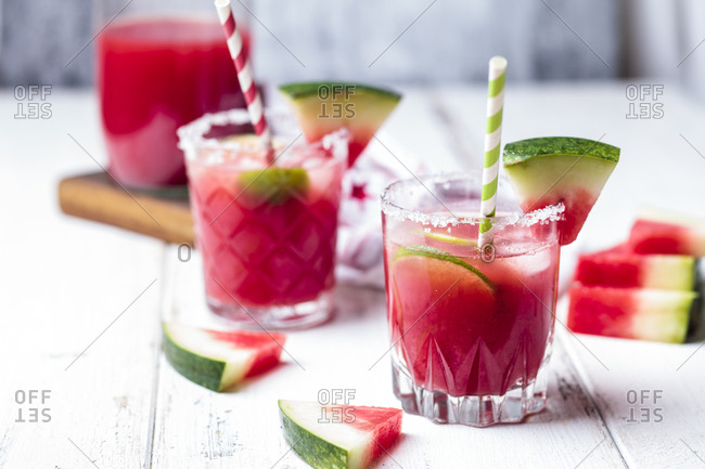 Glasses of Melon Margarita with watermelon juice