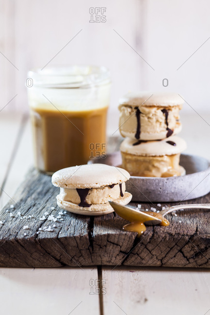 Macarons filled with salted caramel ice-cream