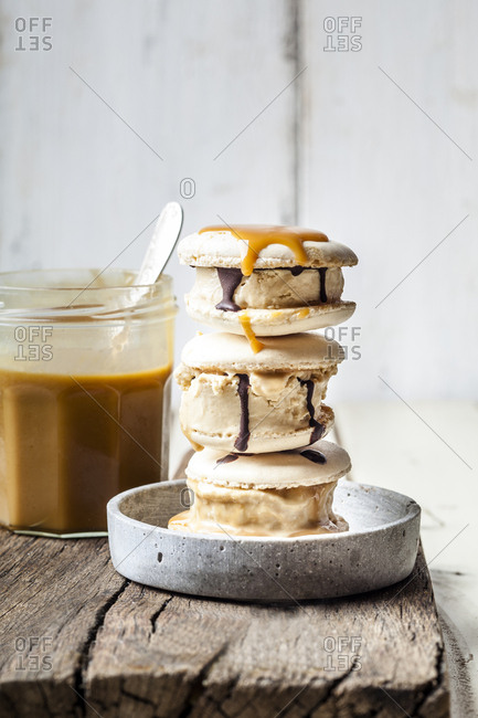 Stack of macarons filled with salted caramel ice-cream
