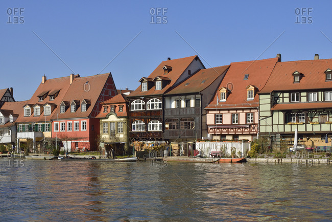 March 18, 2015: Germany- Bamberg- view of Little Venice with Regnitz in the foreground