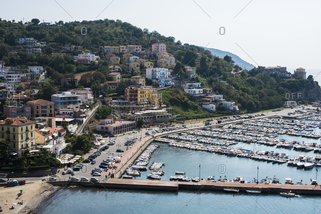 Agropoli, Italy - July 25, 2018: View of port along the Cilento Coast in Salerno, Italy