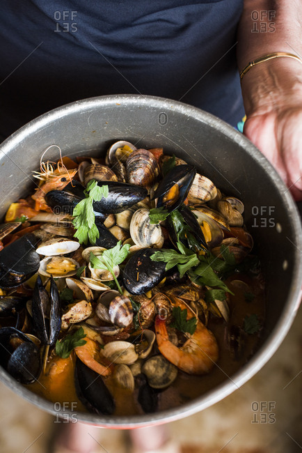 Pot of cooked seafood before adding to pasta