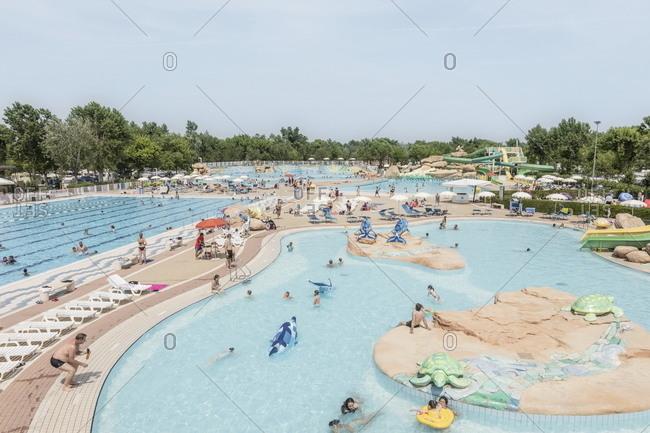 Venice, Italy - May 30, 2018: Variety of swimming pools at Marina di Venezia luxury resort in Punta Sabbioni